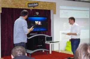 Asiquo presenting via Skype the winning idea